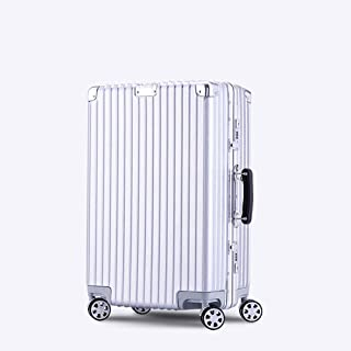 GLJJQMY Trolley Box Right Angle Trolley Case Universal Wheel Luggage Password Men and Women 20 Inch Boarding Retro Suitcase Trolley case (Color : Space Silver, Size : 28 inches)