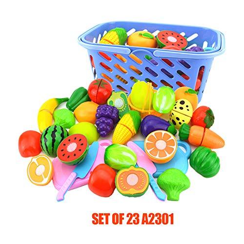 Juguete De Juego De Simulación Para Niños Juguete Ecológico Corte De Plástico Frutas Verduras Imitación Juguete De Cocina Juego De Juguetes De Cocina Para Niños Regalo De Cumpleaños (23-piece set)