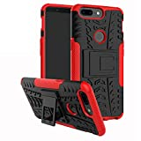 LFDZ Oneplus 5T Tasche, Hülle Abdeckung Cover schutzhülle Tough Strong Rugged Shock Proof Heavy Duty Hülle Für Oneplus 5T Smartphone (mit 4in1 Geschenk verpackt),Rot