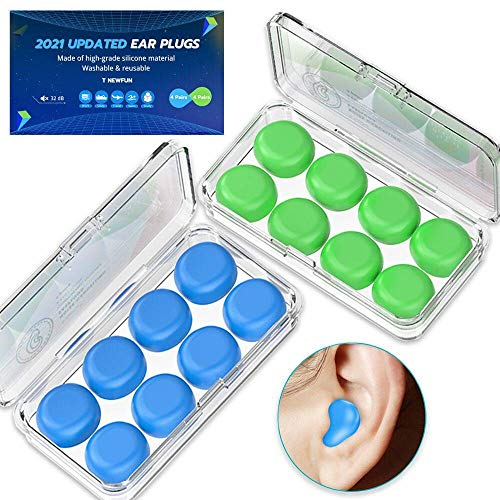 [Latest 2021] Ear Plugs for Sleeping Swimming, 8 Pair Reusable Silicone Moldable Noise Cancelling Earplugs for Shooting Range, Swimmers, Snoring, Concerts, Airplanes, Travel, Work, Studying…