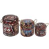 Set de 3 Taburetes Vintage Redondos Decorativos 'Route 66'. Muebles Auxiliares. Baúles. Cajas Multiusos. Regalos Originales. Decoración Hogar. 40 x 40 x 43 cm.