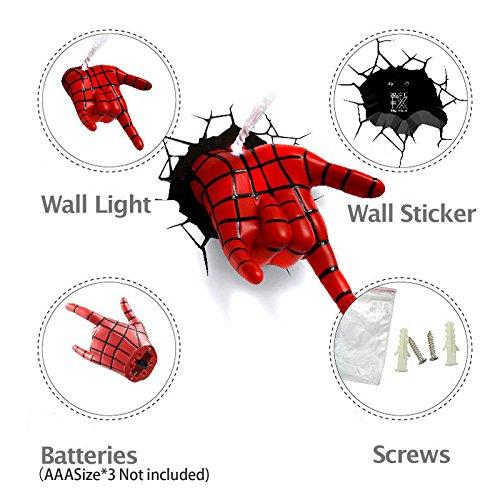 『3D Deco Light/3D 壁掛け専用デコレーションライト スパイダーマン ハンド』の2枚目の画像