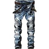 Pantalones Vaqueros para Hombre, Moda, Pliegues, Moda de Gran tamaño, Locomotora elástica, Pantalones Rectos de Color sólido 34