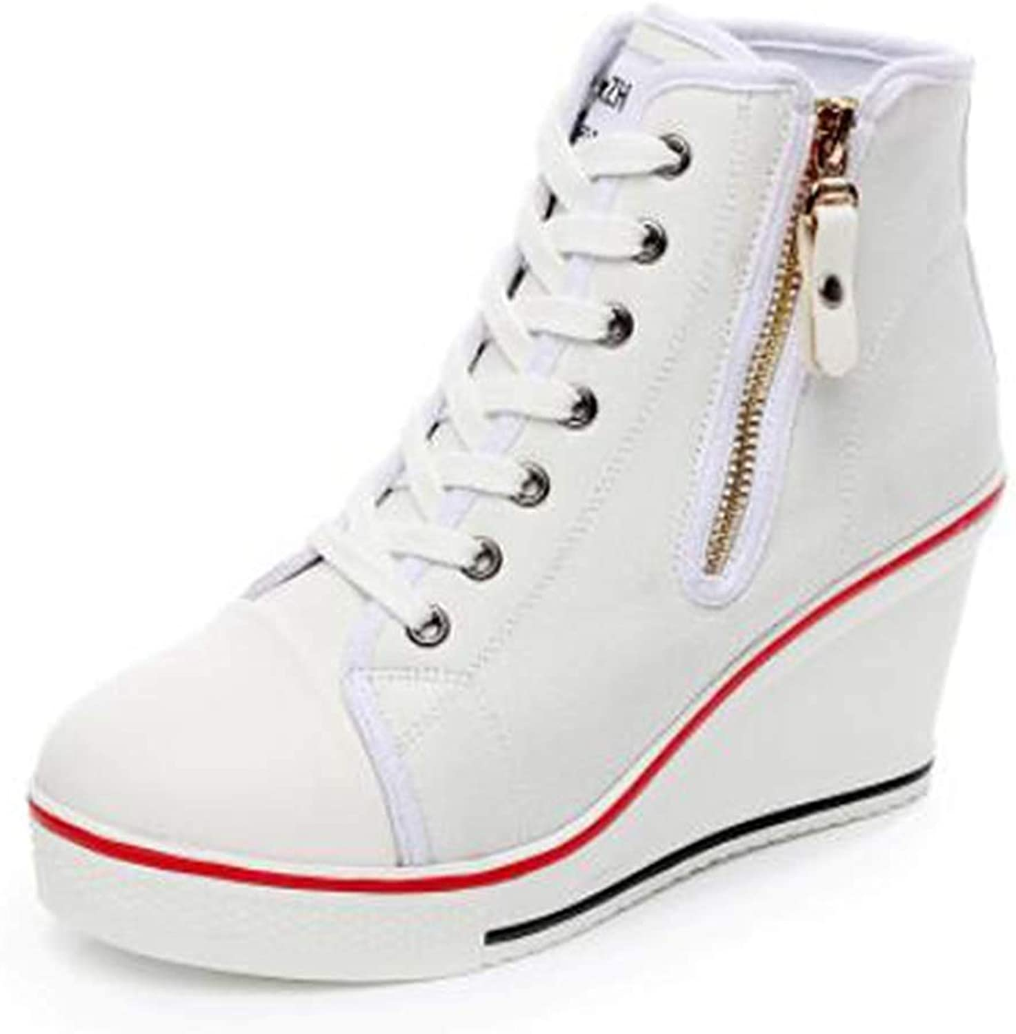 Women High-Top Wedge Sneakers Platform Lace up Lady Sneaker High-Heeled Canvas shoes