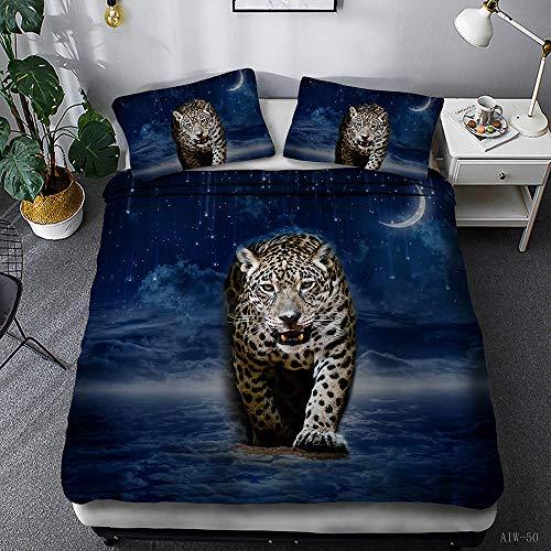 Biancheria da letto king size 260 x 240cm,Leopardo e Via Lattea Galassia e Leopardo set copripiumino,microfibra stampato 3D ipoallergenica 1 copripiumino con chiusura lampo + 2 federe 50 x 75 cm