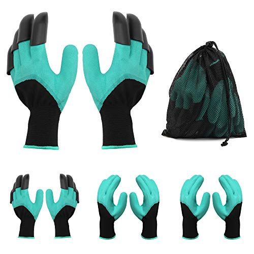 Garden Genie Gloves , Waterproof Garden Gloves with Claw For Digging Planting Weeding , Best Gardening Tool Gifts for Women and Men 4 Pairs Set