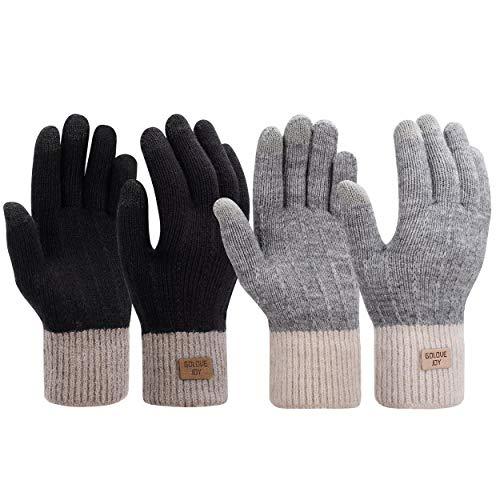 Damen Winter Handschuhe 2 Paar Frauen Warme Touchscreen Baumwolle Kurzer Gestrickte Fäustlinge für Tippen Fahren Schwarz + Grau