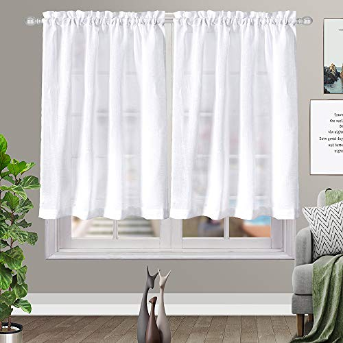 White Kitchen Tier Curtains Rod Pocket Linen Like Privacy Semi Sheer Drapes Half Window Curtain Panels for Bathroom White (W36 x L36, 2 Panels)