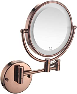 LED Lighted Makeup Mirror, 3X Magnifying Wall Mount Vanity Mirror Two-Sided Bathroom Mirror Extendable Cosmetic Mirror Shaving in Bedroom or Bathroom Powered by Plug,Rose Gold