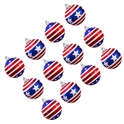 PRETYZOOM 12pcs Independence Day Ball Ornaments Plastic Red White And Blue Balls 4th of July Hanging Balls Christmas Tree Baubles Patriotic Party Decorations Party Supplies Favors Gift 6cm
