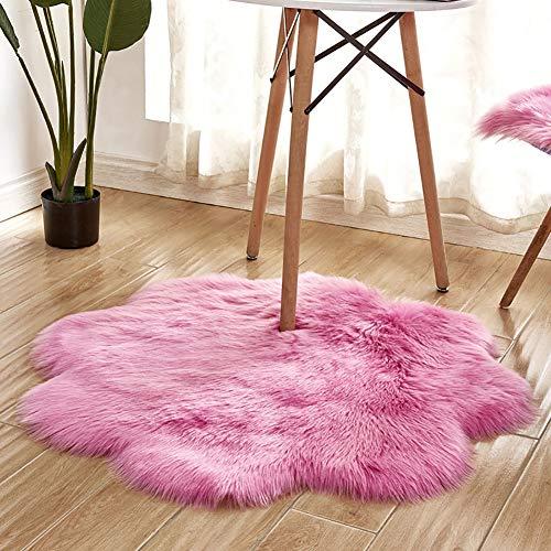 Alfombra de interior súper suave y gruesa para dormitorio, sala de estar, decoración de niños, color rosa, 90 cm