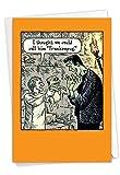 NobleWorks - Happy Halloween Card Funny - Fun Cartoon Humor, Spooky Greeting Notecard with Envelope - Frankenpug C6232HWG