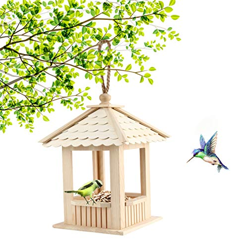 Bird Feeder - Wooden Bird Feeder Hanging for Garden Yard, Decoration Quadrilateral Shape with Roof, Traditional Wooden Bird Table, Garden Birds Feeder Feeding Station, Bird House