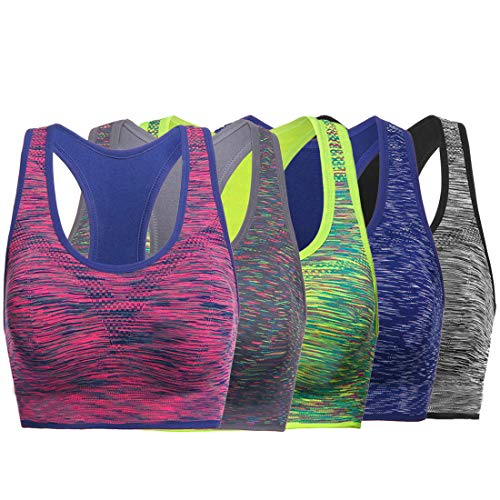 TOBWIZU Women Racerback Sports Bras -Removable Padded Seamless Med Support for Yoga Gym Workout Fitness Activewear Bra(L)