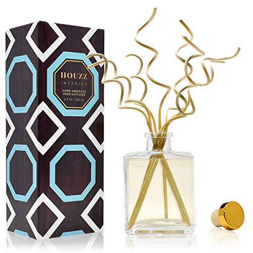 HOUZZ Interior Lemongrass & Ginger Home Fragrance Reed Diffuser | Scent Notes: Lemongrass, Eucalyptus, Ginger, Thyme, Cedarwood & Sage