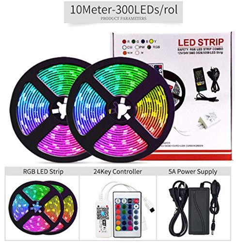 striscia luminosa a led, striscia luminosa impermeabile wifi intelligente colorato 5050RGB, set strisce luminose APP controllo telefono cellulare- [IP20 versione nu non impermeabile]_set 300 luci-10M