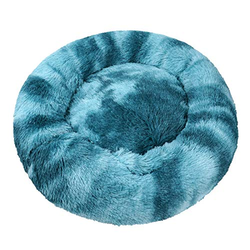 Cama para Perros Cama Redonda de Felpa Suave para Mascotas Almohada para Perros Sofá para Gatos Azul 70cm