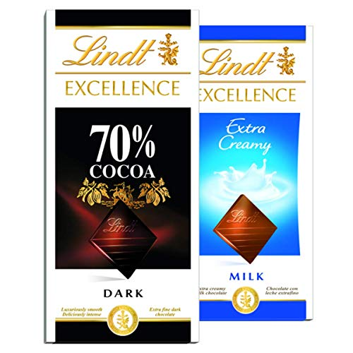2 Barras, Chocolate Suiço, Lindt Excellence Cacau Nobre, 2x100g