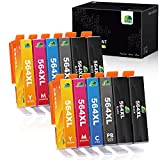 JARBO Compatible Ink Cartridge Replacement for HP 564XL, 5 Color (12 Packs), Compatible for HP Photosmart 5520 6520 7520 5510 6510 7510 7525 B8550 Premium C309A C410A Officejet 4620 Deskjet 3520