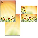 Briefblock-Mappe Sonnenblumenfeld - 1 Schreibblock mit Linien beidseitig bedruckt DIN