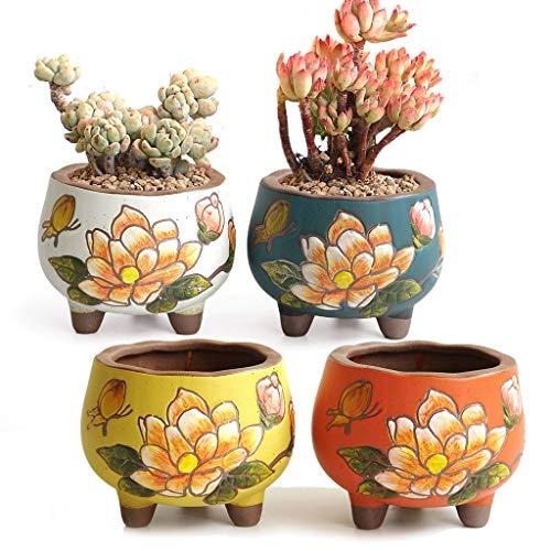 Summer Impressions Blumentopf für Sukkulenten, Kakteen, Bonsai, Ton, Blumentopf, Blumentopf, Blumentopf, Pflanzgefäß, Blumendesign, für drinnen und draußen, 4 Stück
