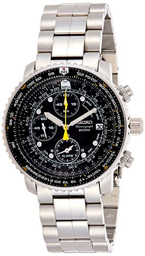 Seiko - SNA411P1 - Montre Homme - Quartz Chronographe - Cadran Noir - Bracelet Acier Gris