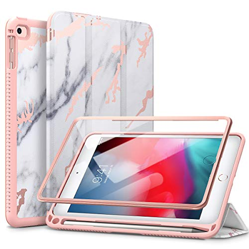 SURITCH Case for iPad Mini 4/iPad Mini 5,【Built in Screen Protector】【Auto Sleep/Wake】【Pencil Holder】 Lightweight Leather Case Flip Cover with Stand for iPad Mini 4/Mini 5 7.9'(Marble)
