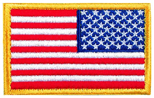 Tactical Patches of USA US American Flag Reverse, with Hook and Loop for Backpacks Caps Hats Jackets Pants, Military Army Uniform Emblems, Size 3x2 Inches