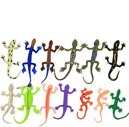 ANWEN Spielzeug in Form von Eidechsen 8 Stück Gummi Set Lebensmittelqualität Material TPR super dehnbar mit einem Geschenk Lernbox Spielzeug Figuren Badespielzeug Gecko Chameleon Komodo Drache
