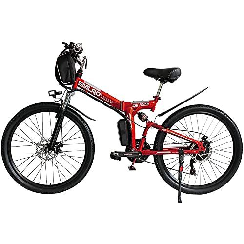 Bedroom Ebikes para Adultos, Bicicleta Eléctrica Plegable MTB Dirtbike, 26'48v 10ah 350w Ip54 Diseño Impermeable, Byclas Eléctricas Plegables De Fácil Almacenamiento para Hombres(Color:Rojo)