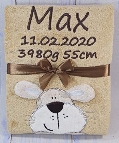 ★ Babydecke mit Namen und Datum bestickt ★ Baby Geschenke ★ Geburt ★ (Senf - Hund)