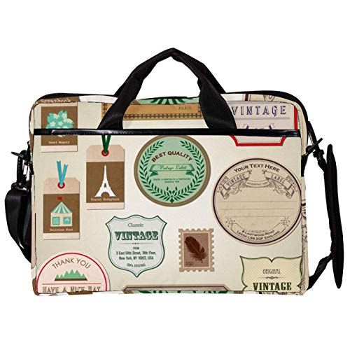 Unisex Computer Tablet Satchel Bag,Lightweight Laptop Bag,Canvas Travel Bag,13.4-14.5Inch with Buckles Back Label Bookmarks Stickers Tags