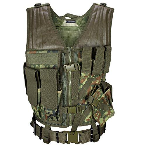 USMC Einsatzweste mit Koppel Tactical Vest Paintball Airsoft Softair Weste BlackSnake® - Flecktarn