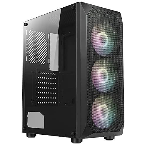 ionz Gamer Edition GE330-7 ATX - Carcasa para PC (cristal templado lateral y frontal de malla, ventiladores ARGB)
