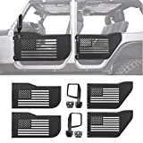 Z8LED Steel Tubular Door with USA Flag Logo with Rear view Mirror Fits for 2007-2017 Jeep Wrangler JK Unlimited 4-Door (Stainless Steel, 4 doors)