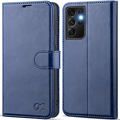 """OCASE Custodia Samsung S21 Ultra, Cover Samsung S21 Ultra Interno TPU Antiurto Portafoglio [RFID Blocking] [Carta Fessura] [Supporto Stand] Custodie in Pelle per Galaxy S21 Ultra (6,8"""") - Blu"""