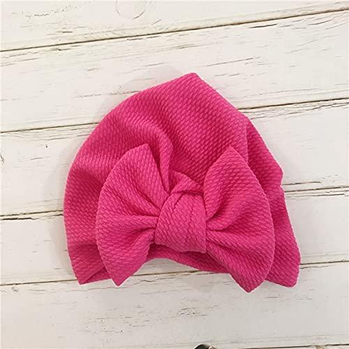1 Uds, Sombrero de Lazo Grande de algodón sólido, Diademas para bebés y niños, Turbante Suave y cómodo, Pelo para niños-Rose Red