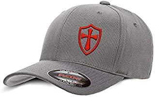 Crusader Knights Templar Cross Baseball Hat Large/X-Large Red on Grey