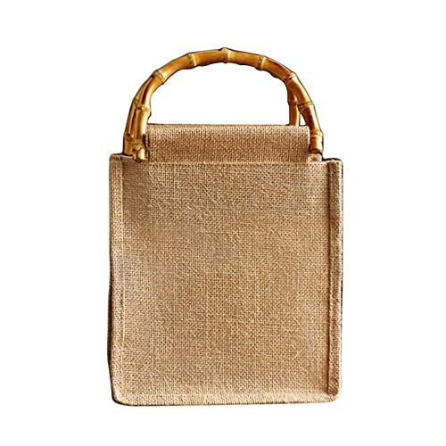 Rattan Tasche Baumwolle Leinen Retro Literarische Einkaufstasche Handgemachte Kleine Shopper Einkaufstasche ideal als Einkaufstasche, Badetasche, Shopper Handtasche