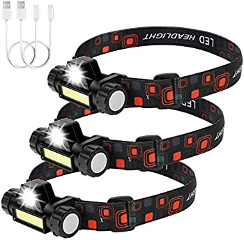 3-Packs Cadai 500 Lumens Rechargeable Flashlight Led Headlamp