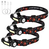 3 Packs Rechargeable Headlamp Flashlight 500 Lumens Super Bright, Ultra Lightweight 2 oz, Comfortable Headband, Perfect for Runners,Camping, Hiking,Working