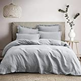 """PHF 100% Linen Duvet Cover Set Queen Size (90""""x 92""""), 3PCS Washed French Flax Comforter Cover..."""
