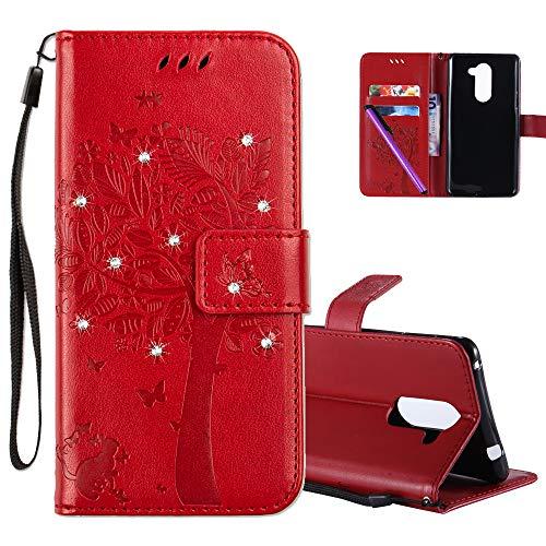 COTDINFOR Huawei Honor 6X Hülle für Mädchen Elegant Retro Premium PU Lederhülle Handy Tasche mit Magnet Standfunktion Schutz Etui für Huawei Honor 6X Red Wishing Tree with Diamond KT.
