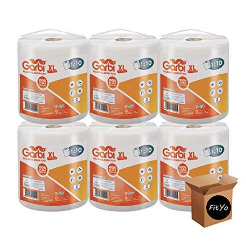 Lot de 6 Rouleaux XL d'essuie tout 280 Feuilles bobine de 70 mètres usage domestique ou industriel papier d'essuyage crée par FitYo (6)