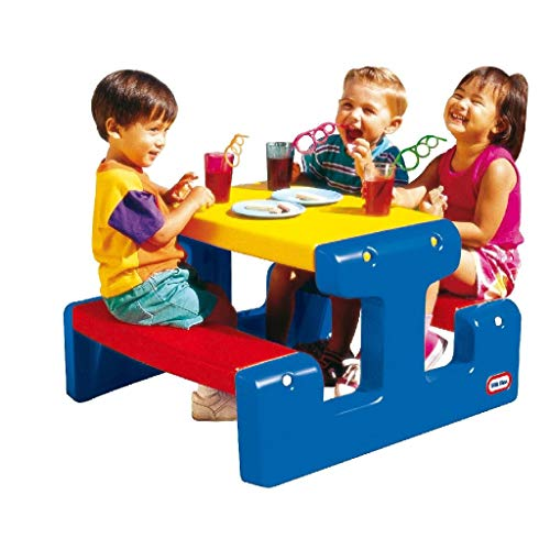 Little Tikes Picnic Table (Primary) - Seats Up to 4 - For Homework, Projects, and Play - Primary Colours