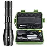 Rechargeable Flashlights High Lumens, L2 LED Tactical Flash Lights, High Power Torch, With 18650 5000mAh Battery Charger Micro USB Cable Gift Box Holster, For Police Emergency Camping Hiking Hunting