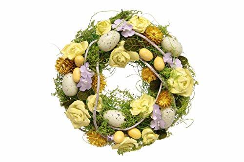 Flair Flower Kranz mit künstlichen Rosen Eier Blüten Ostern Dekokranz mit Ostereier Künstliche Blumen Eierkranz Kranz Wandkranz Frühlingsdeko Frühlingskranz Blumenkranz für Haustür