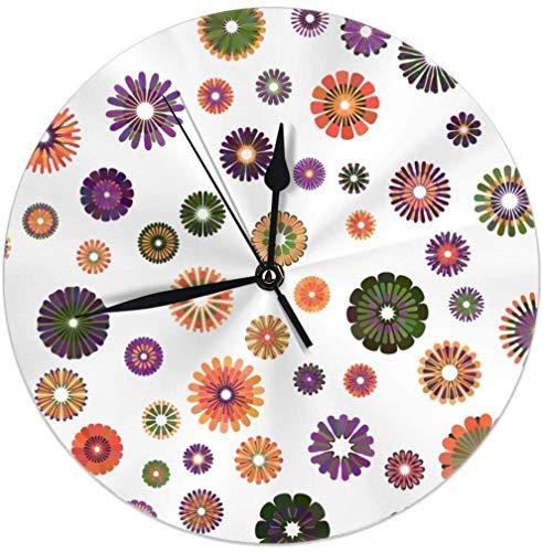 Reloj de pared con diseño de flor de degradado amarillo, naranja, verde, violeta de 9.84 pulgadas, silencioso, decoración para el hogar o la cocina