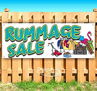 Rummage Sale 13 oz Heavy Duty Vinyl Banner Sign with Metal Grommets, New, Store, Advertising, Flag, (Many Sizes Available)
