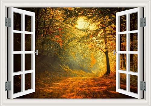 ivAZW Bosque 3D Etiqueta de la Pared de la Ventana Paisaje Pared Vinilo Arte extraíble Dormitorio Papel Tapiz Adhesivo 24x36 Pulgadas 60x90 cm 28